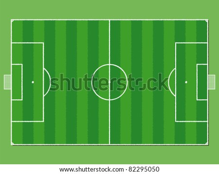 Soccer field / pitch or football field in aerial perspective - stock vector