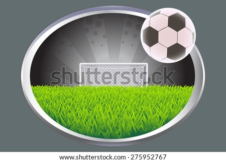 Soccer field with ball and goal. - stock vector