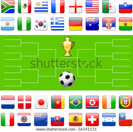 Soccer Field with Competing Team Flags Original Illustration - stock vector