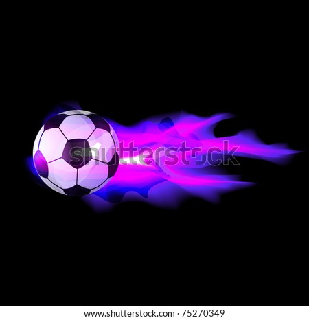 soccer fire banner - stock vector