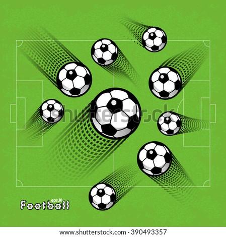 Soccer (football) balls with traces splines of flight. Set. eps10. - stock vector