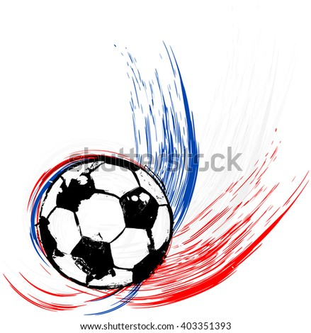 soccer / football illustration, free copy space, with soccer ball - stock vector