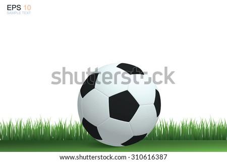 Soccer football on grass field. Vector illustration. - stock vector