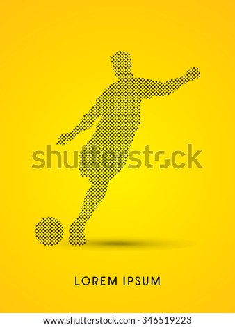 Soccer, football, player silhouette, designed using dot and square graphic vector. - stock vector