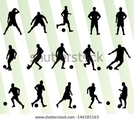 Soccer football player silhouette vector background set - stock vector