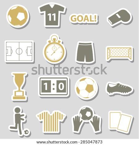 soccer football simple black stickers set eps10  - stock vector