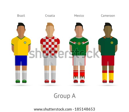 Soccer / Football team players. Group A - Brazil, Croatia, Mexico, Cameroon. Vector illustration. - stock vector