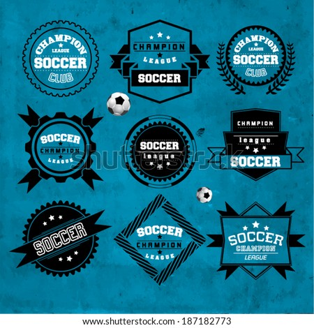 Soccer Football Typography Badge Design Element - stock vector