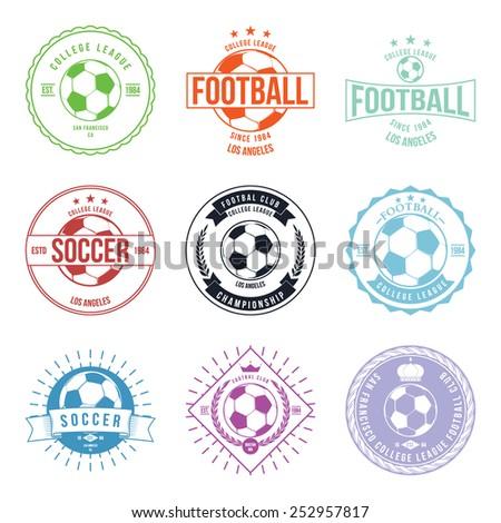 Soccer Football Typography Badge Design Element vector - stock vector