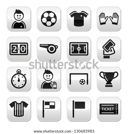 Soccer / football vector buttons set - stock vector