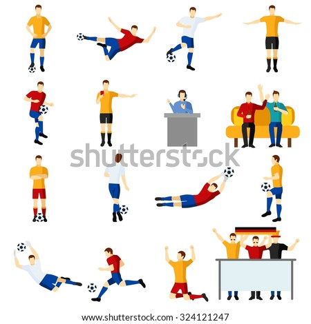 Soccer game team players flat icons set with goalkeeper and forward in action abstract isolated vector illustration - stock vector