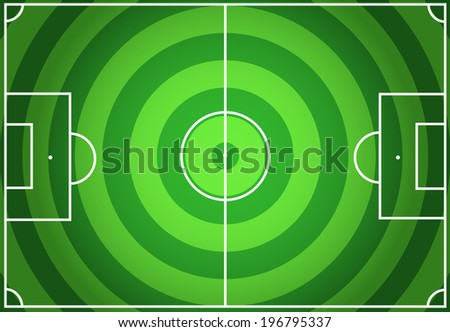 Soccer green field with circles striped background - stock vector