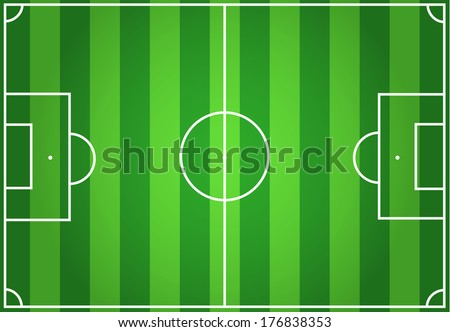 Soccer green striped field background - stock vector