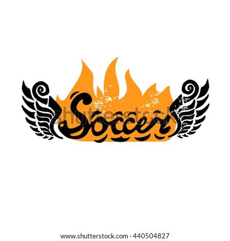 Soccer grunge script. Soccer Football Badge Logo Design Templates. - stock vector