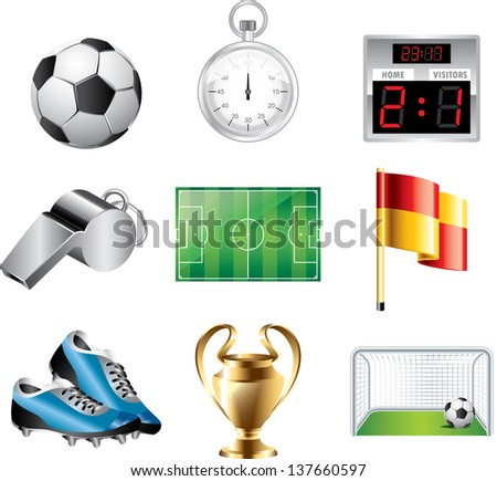 soccer icons detailed vector set - stock vector