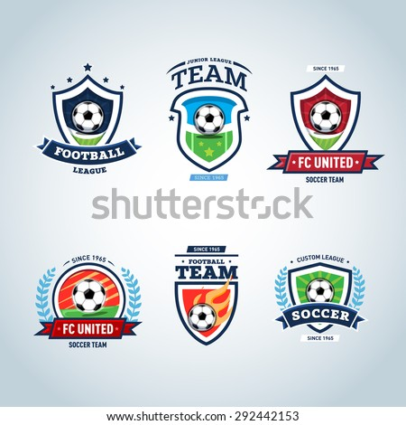 Soccer logo. Football logo. Set of soccer football crests and logo template emblem designs, logotypes design concepts of football icons. Collection of Soccer Themed T shirt Graphics - stock vector