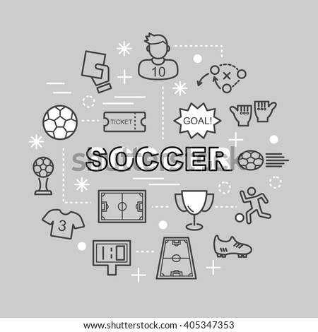 soccer minimal outline icons, vector pictogram set - stock vector