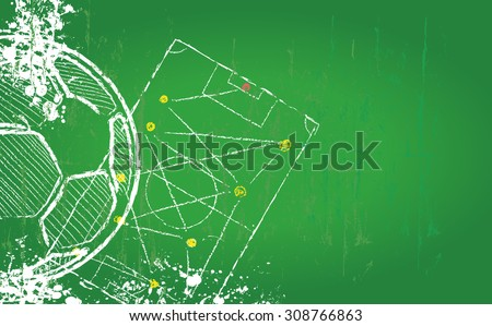 Soccer or Football design template,free copy space, fictional artwork, grungy style vector  - stock vector