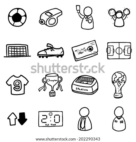 soccer or football icons set / cartoon vector and illustration, black and white, hand drawn, sketch style, isolated on white background. - stock vector