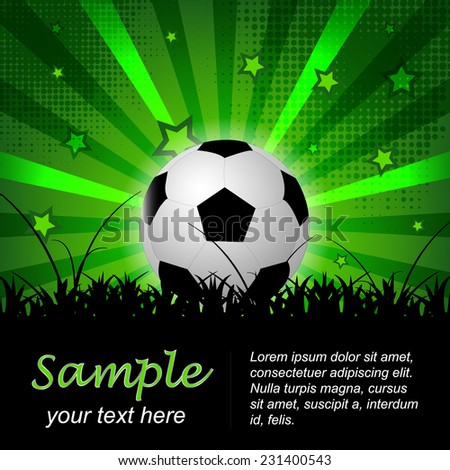 Soccer or football vector background with ball and stars, editable vector design for your soccer tournament or poster - stock vector