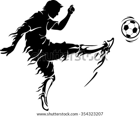 Soccer Player Flame Kick-Flame trailing football athlete doing his power kick - stock vector
