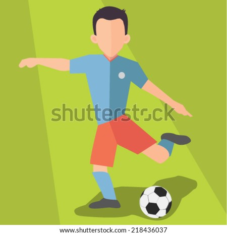 soccer player -flat design vector  - stock vector