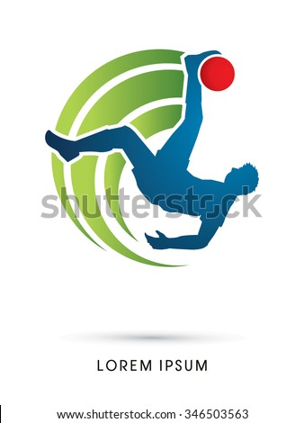 Soccer player hit the ball, Bicycle Kick graphic vector. - stock vector