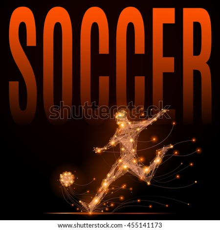 Soccer player hits the ball. Abstract silhouette of football player of glowing lines and points in motion. Imitation fiery athletes body. Vector sport illustration on black background - stock vector