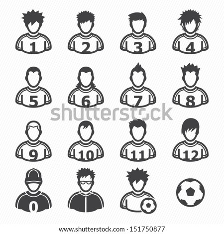Soccer Player Icons with White Background - stock vector