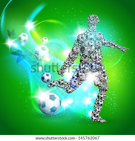 Soccer player kicks the ball, Vector illustration - stock vector