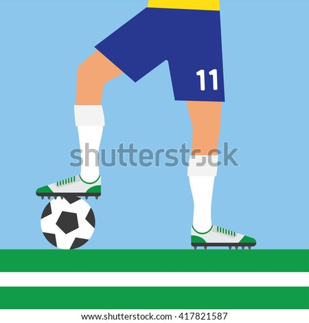 soccer player rests foot on soccer ball, football - stock vector
