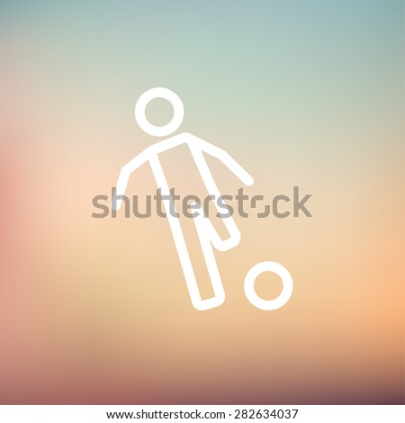 Soccer player to kick the ball icon thin line for web and mobile, modern minimalistic flat design. Vector white icon on gradient mesh background. - stock vector