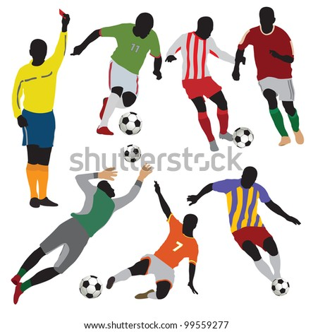 Soccer players collection.Vector - stock vector
