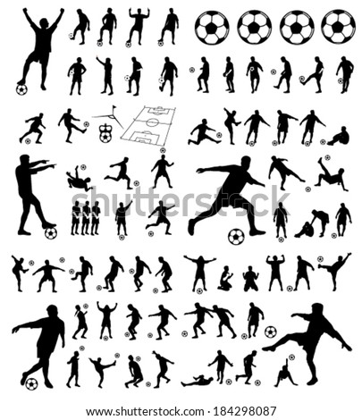 soccer players group vector silhouettes - stock vector