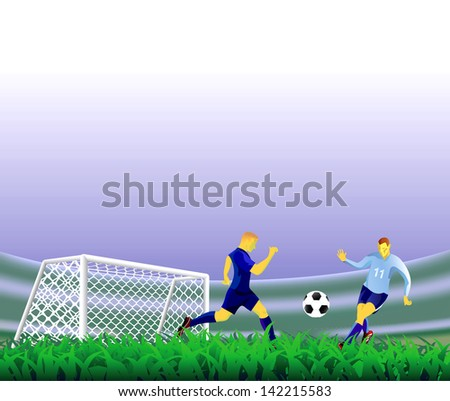 Soccer players in game. - stock vector