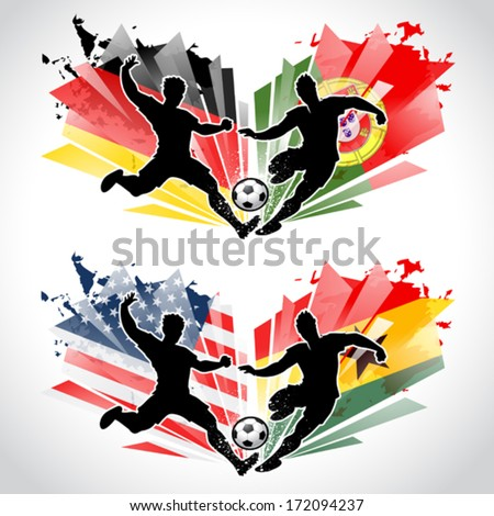 Soccer players representing different countries while tackling a ball - stock vector