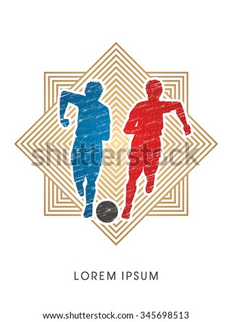 Soccer players, Running with ball designed using grunge brush on line square background  graphic vector - stock vector