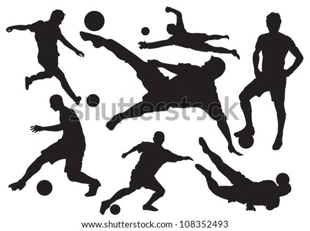 Soccer players silhouette - stock vector