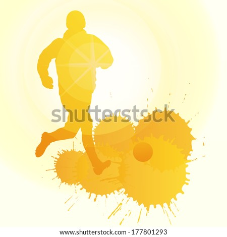 Soccer players silhouette vector background concept with ink splashes and sun - stock vector