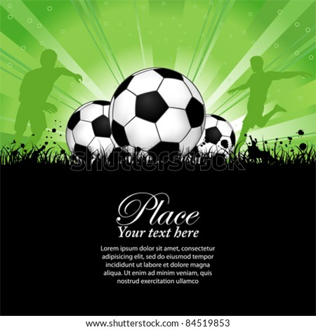 Soccer Players with ball on grunge background, element for design, vector illustration - stock vector