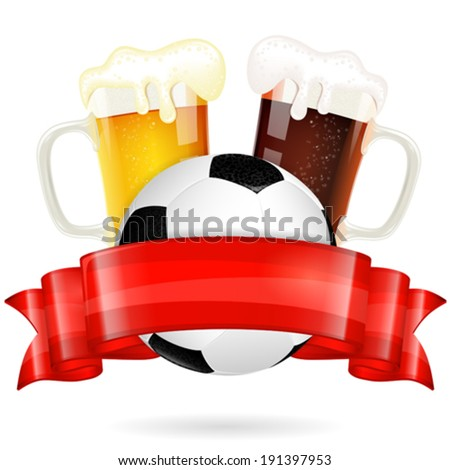 Soccer Poster with Ball, Glasses of Beer and Red Ribbon, vector isolated on white - stock vector