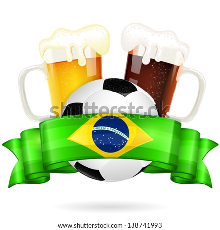 Soccer Poster with Ball, Glasses of Beer and Ribbon in Color Flag Brazil, vector isolated on white - stock vector