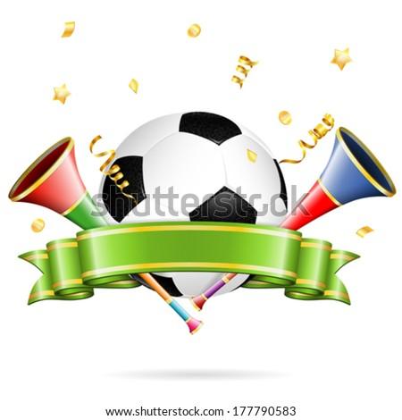 Soccer Poster with Soccer Ball, vuvuzela, ribbon and golden streamer, vector isolated on white background - stock vector