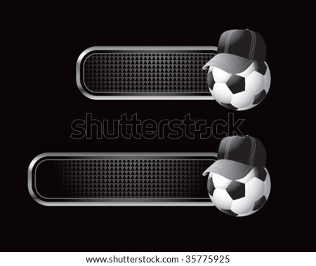 soccer referee ball on black tabs - stock vector