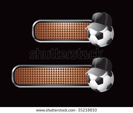 soccer referee ball on brown tabs - stock vector