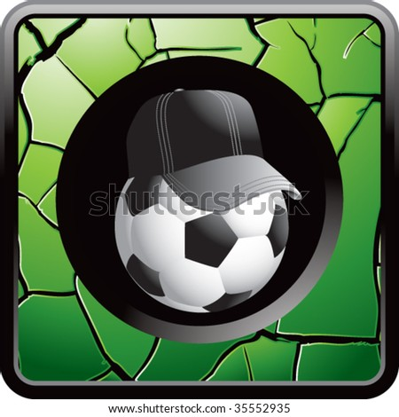 soccer referee ball on green cracked web icon - stock vector