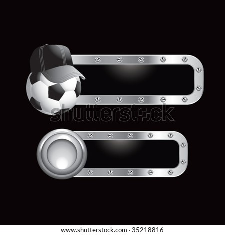soccer referee ball on metal banners - stock vector