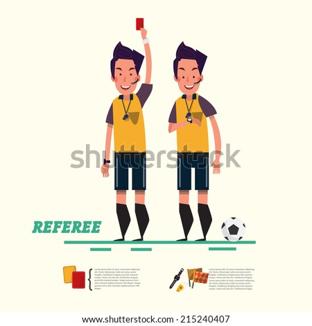 soccer referee character. referree - vector illustration - stock vector