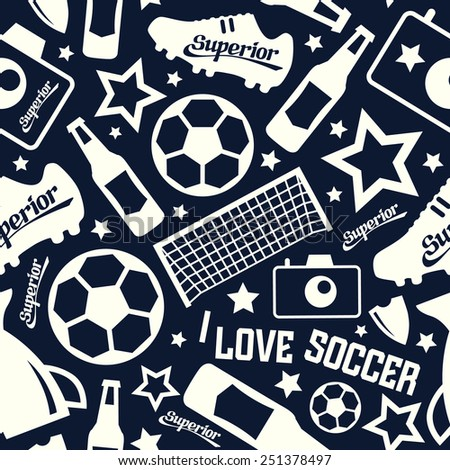 Soccer  seamless pattern. White print on a black background - stock vector