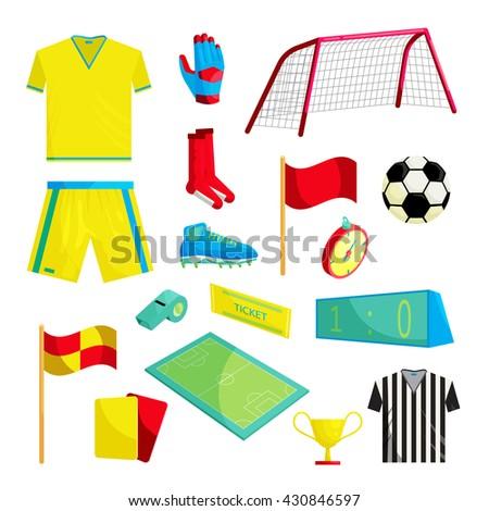 Soccer set - stock vector